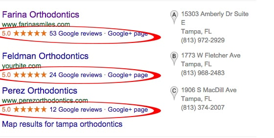 Orthodontists with many 5 star reviews